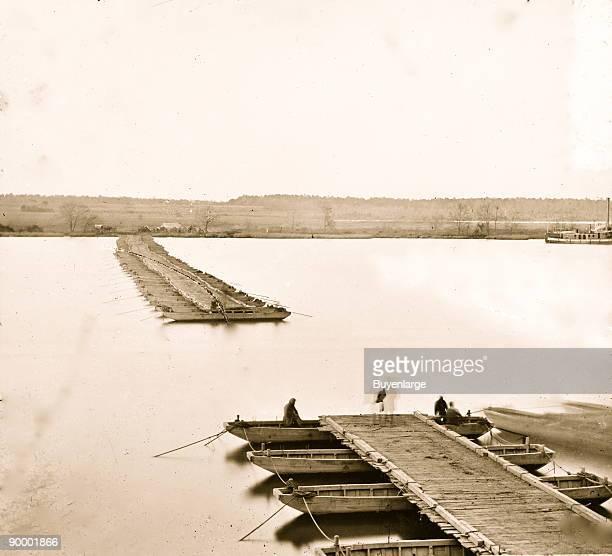 Jones' Landing Virginia Pontoon bridge across the James River