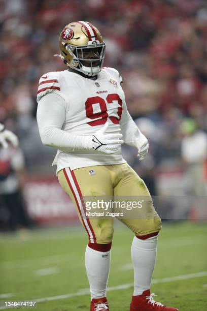 Jones of the San Francisco 49ers celebrates after sacking Kyler Murray of the Arizona Cardinals during the game at State Farm Stadium on October 10,...