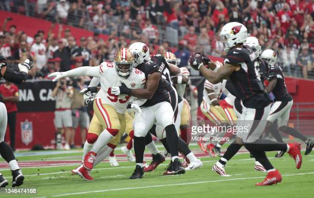 Jones of the San Francisco 49ers rushes the quarterback during the game against the Arizona Cardinals at State Farm Stadium on October 10, 2021 in...