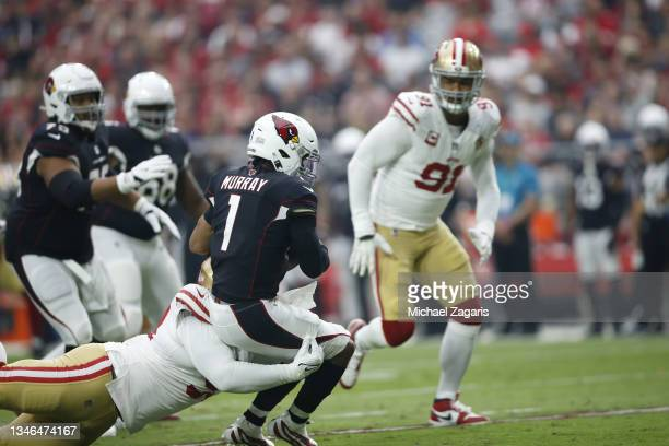 Jones of the San Francisco 49ers sacks Kyler Murray of the Arizona Cardinals during the game at State Farm Stadium on October 10, 2021 in Glendale,...