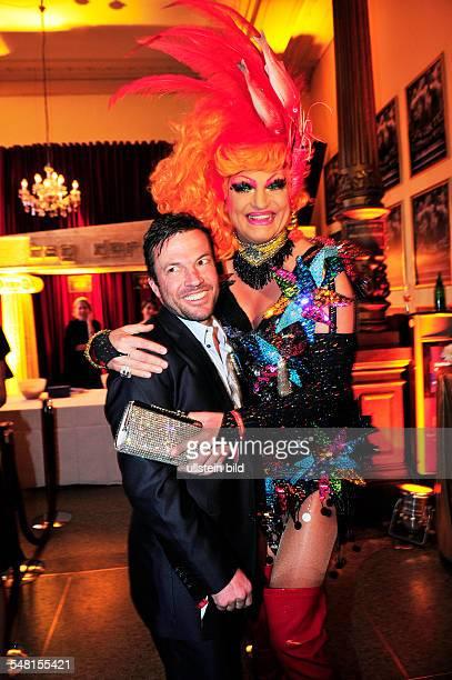 Jones Olivia Drag Queen Artist En travesti Germany with Lothar Matthaeus during 'Nacht der Legenden' in Hamburg Germany Schmidts Tivoli