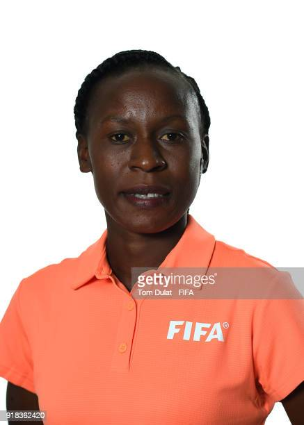 Jonesia Rukyaa Kabakama of Tanzania poses for photographs during the FIFA Women's Referee Seminar on February 14 2018 in Doha Qatar