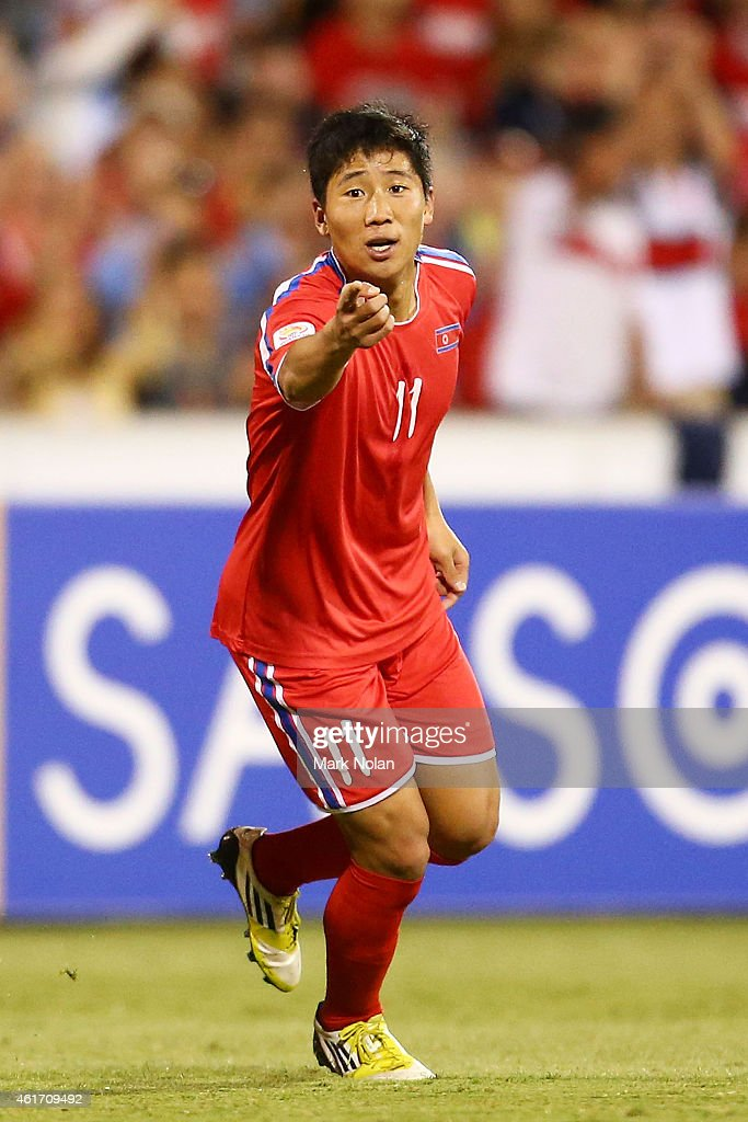 Jong Il Gwan of DPR Korea celebrates after scoring a goal during the 2015 Asian Cup match between China PR and DPR Korea at Canberra Stadium on January 18, 2015 in Canberra, Australia.