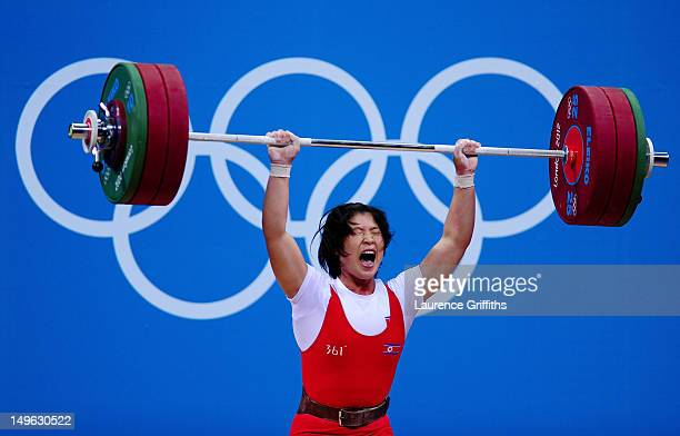 Jong Sim Rim of DPR Korea competes in the Women's 69kg Weightlifting on Day 5 of the London 2012 Olympic Games at ExCeL on August 1 2012 in London...