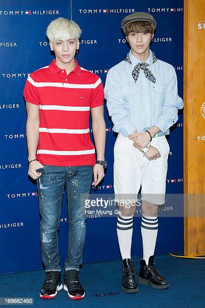 Jonghyun and Taemin of South Korean boy band SHINee attend the Tommy Hilfiger 'Surf Shack' Capsule Collection Launching Party at Tommy Hilfiger...