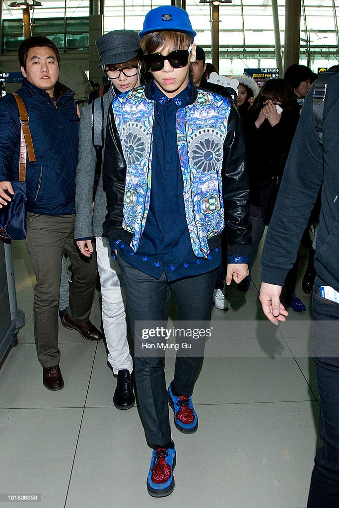 Jonghyun of South Korean boy band SHINee is seen at Incheon International Airport on February 16, 2013 in Incheon, South Korea.