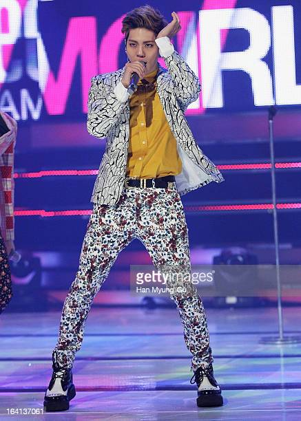 Jonghyun of South Korean boy band SHINee performs onstage during the MBC Music 'Show Champion' at UniqloAX Hall on March 20 2013 in Seoul South Korea