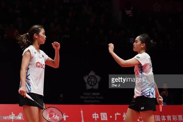 Jongkolphan Kititharakul and Rawinda Prajongjai of Thailand compete against Gabriela Stoeva and Stefani Stoeva of Bulgaria during their women's...