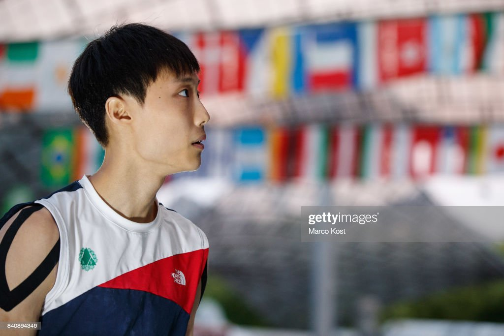 Jongwon Chon of Korea competes during the finals of the IFSC Bouldering World Cup Munich on August 19, 2017 in Munich, Germany.