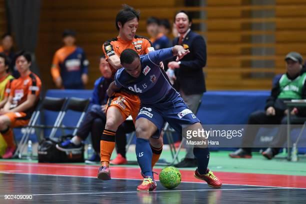 Jonhn Lennon of Agleymina Hamamatsu and Shinobu Aii of Shriker Osaka during the FLeague match between Shriker Osaka and Agleymina Hamamatsu at the...