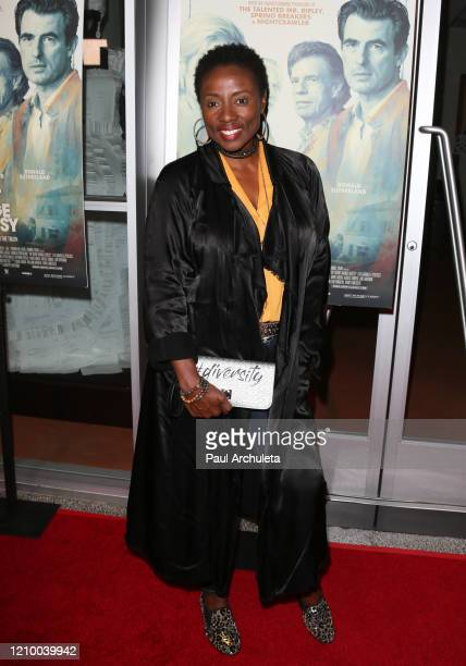 """Joni Bovill attends the LA special screening of Sony's """"The Burnt Orange Heresy"""" at Linwood Dunn Theater on March 02, 2020 in Los Angeles, California."""