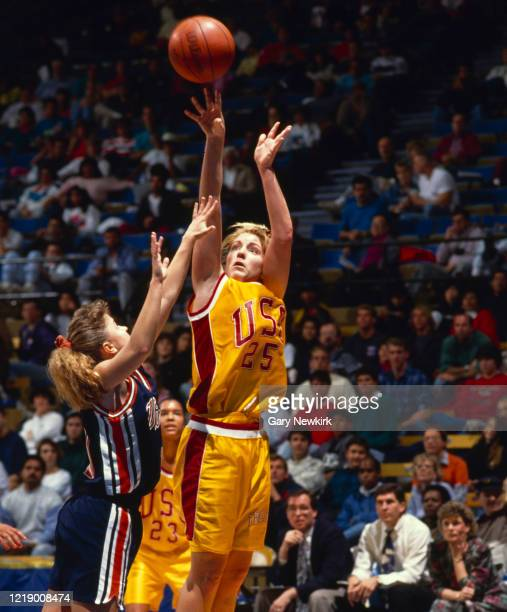 Joni Easterly Point Guard and Power Forward for the University of Southern California Trojans shoots for the hoop during the NCAA Pac10 Conference...