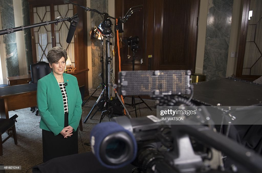 Joni Ernst, a newly elected senator from Iowa, rehearses the Republican party's response to US President Barack Obama's State of the Union address on Capitol Hill in Washington, DC, January 20, 2015.