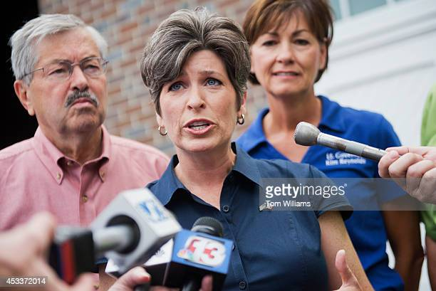 Joni Ernst Iowa Republican Senate candidate speaks at a news conference with Gov Terry Brandstad and Lt Gov Kim Reynolds at the 2014 Iowa State Fair...