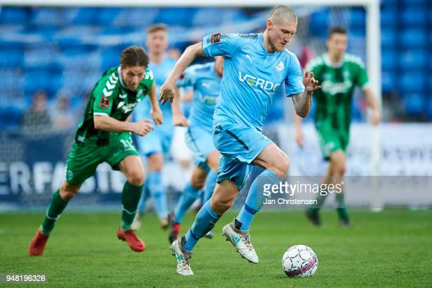 Joni Kauko of Randers FC in action during the Danish Alka Superliga match between Randers FC and OB Odense at BioNutria Park Randers on April 18 2018...
