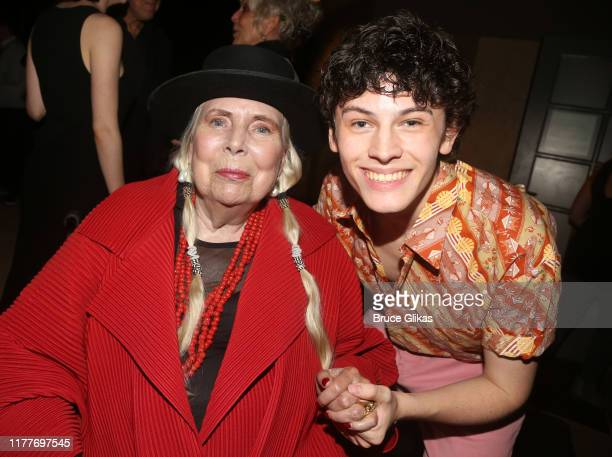 """Joni Mitchell and Casey Likes pose at the opening night of the new musical """"Almost Famous"""" at The Old Globe Theatre on September 27, 2019 in San..."""