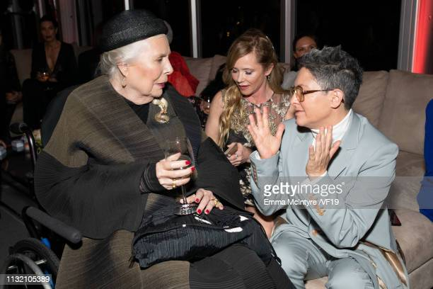 Joni Mitchell and Jill Soloway attend the 2019 Vanity Fair Oscar Party hosted by Radhika Jones at Wallis Annenberg Center for the Performing Arts on...