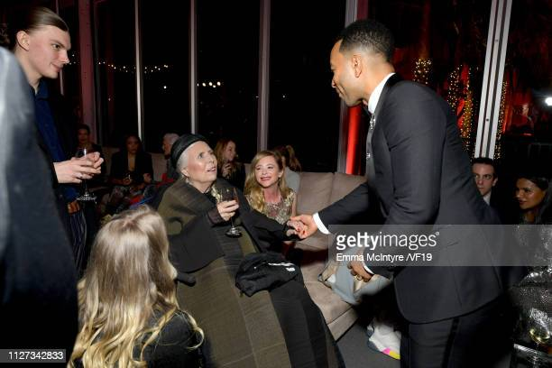 Joni Mitchell and John Legend attend the 2019 Vanity Fair Oscar Party hosted by Radhika Jones at Wallis Annenberg Center for the Performing Arts on...