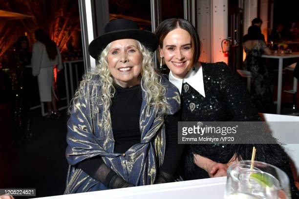 Joni Mitchell and Sarah Paulson attend the 2020 Vanity Fair Oscar Party hosted by Radhika Jones at Wallis Annenberg Center for the Performing Arts on...