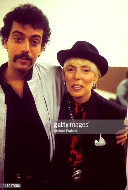 Joni Mitchell backstage with husband Larry Klein at Wembley Arena London 23rd April 1983