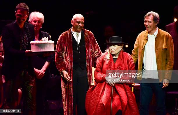 Joni Mitchell is presented with a birthday cake onstage at JONI 75 A Birthday Celebration Live at Dorothy Chandler Pavilion on November 07 2018 in...