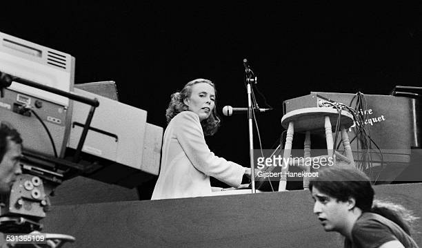 Joni Mitchell performs live on stage at Wembley Stadium London on 14th September 1974
