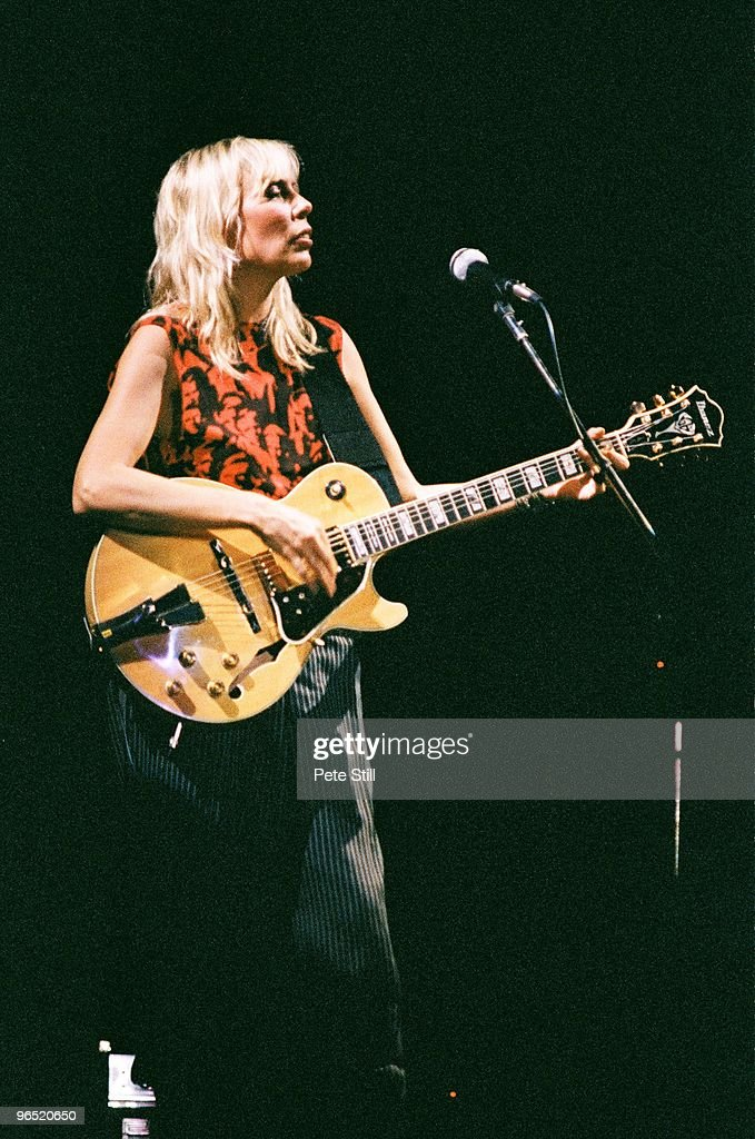 Joni Mitchell performs on stage at Wembley Arena on April 23rd, 1983 in London, United Kingdom. She plays an Ibanez guitar.