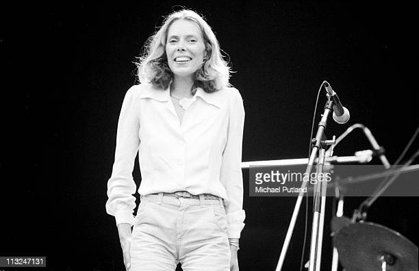 Joni Mitchell performs on stage supporting Crosby Stills Nash and Young at Wembley Stadium London 14th September 1974