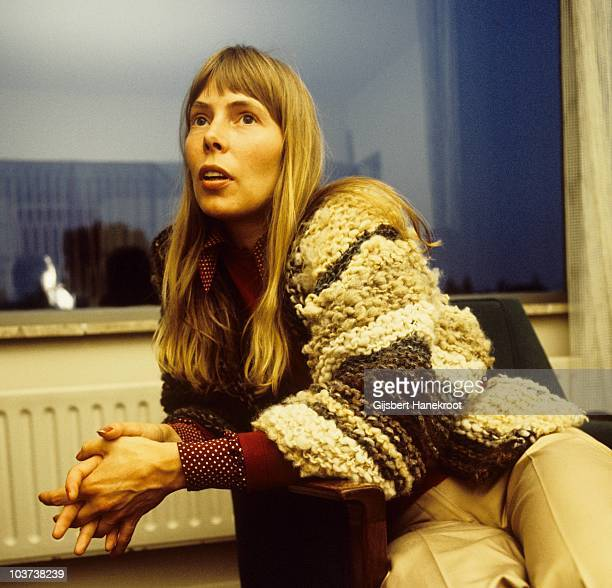Joni Mitchell portraits during an interview in 1972 in Amsterdam, Netherlands.