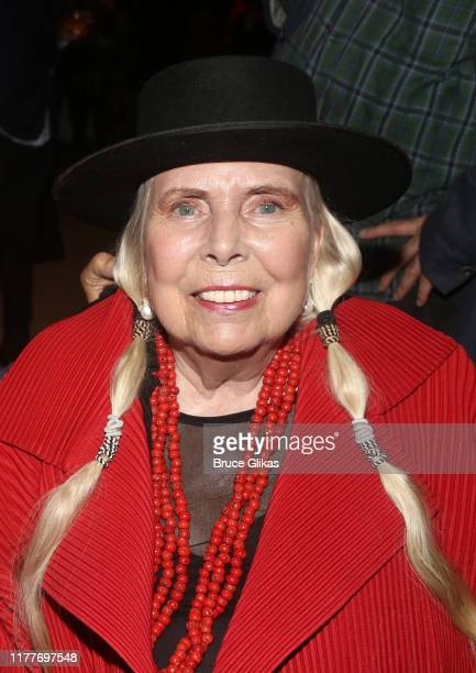 """Joni Mitchell poses at the opening night of the new musical """"Almost Famous"""" at The Old Globe Theatre on September 27, 2019 in San Diego, California."""