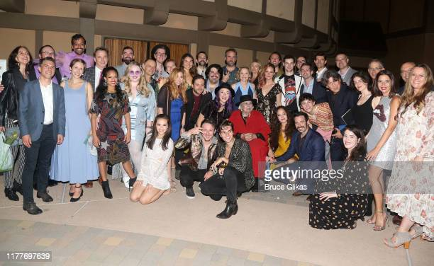"""Joni Mitchell poses with the cast and company at the opening night of the new musical """"Almost Famous"""" at The Old Globe Theatre on September 27, 2019..."""