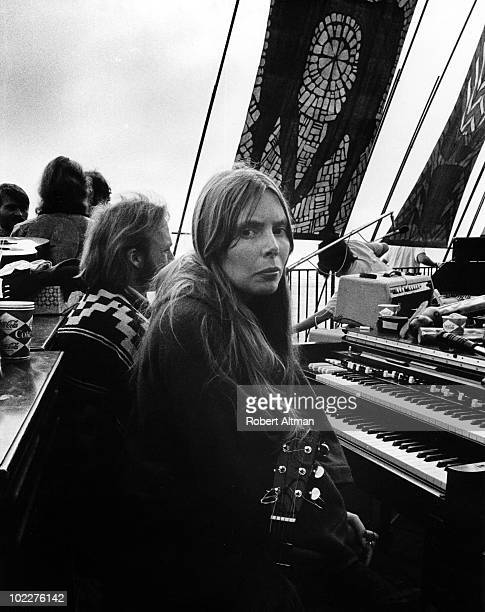 Joni Mitchell takes a break at The Big Sur Folk Festival held at the Eselen Institute on September 15 1969 in Big Sur California
