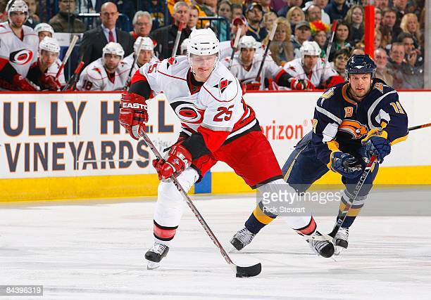 Joni Pitkanen of the Carolina Hurricanes skates during their NHL game against the Buffalo Sabres on January 17 2009 at HSBC Arena in Buffalo New York...