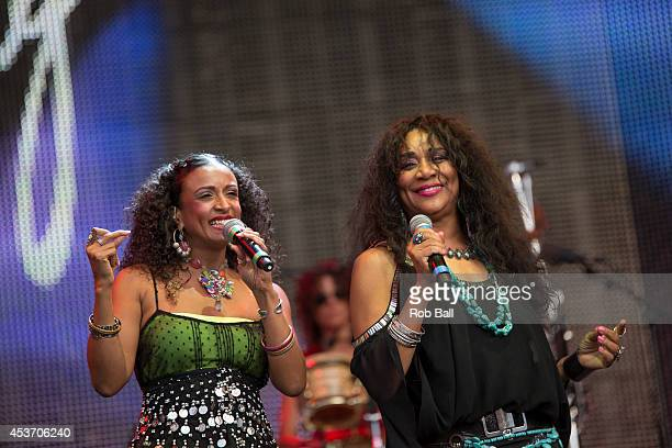 Joni Sledge and Carol Sledge of Sister Sledge performs on stage at Rewind South 80s Music Festival at Temple Island Meadows on August 16 2014 in...