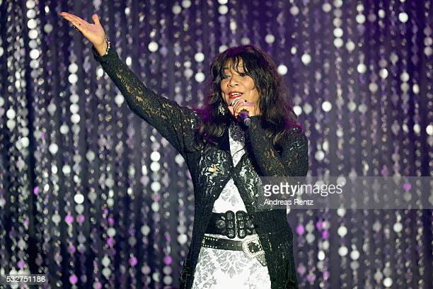 Joni Sledge of Sister Sledge appears on stage at the amfAR's 23rd Cinema Against AIDS Gala at Hotel du CapEdenRoc on May 19 2016 in Cap d'Antibes...