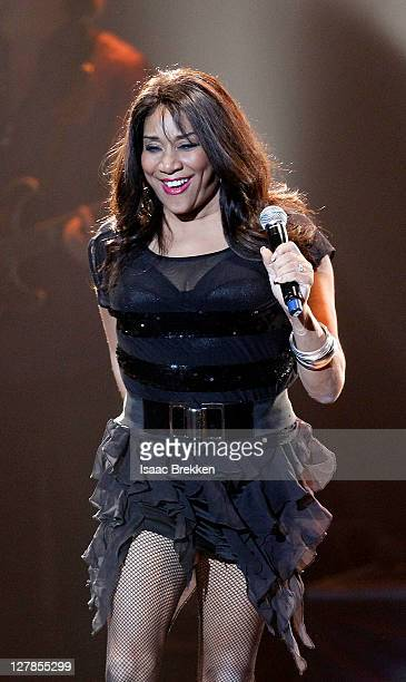 Joni Sledge of Sister Sledge performs during the Justin Timberlake and Friends Old School Jam concert benefiting Shriners Hospitals for Children at...