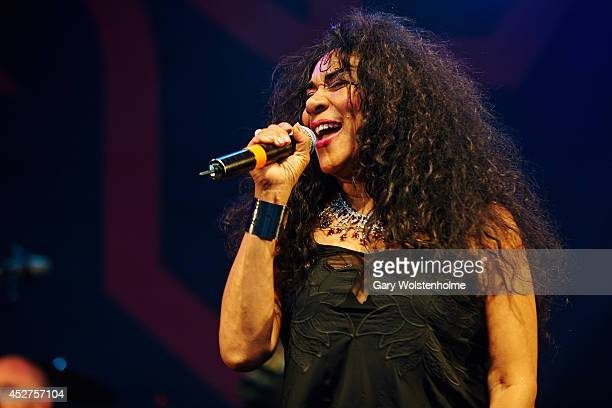 Joni Sledge of Sister Sledge performs on stage at Tramlines Festival at Devonshire Green on July 26 2014 in Sheffield United Kingdom