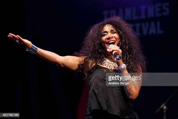 Joni Sledge of Sister Sledge performs on stage at Tramlines Festival at on July 26 2014 in Sheffield United Kingdom