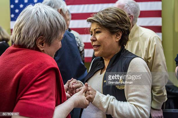 Joni Sotter of Marion Iowa greets Columba Bush wife of Republican presidential candidate Jeb Bush following a campaign event at his local field...