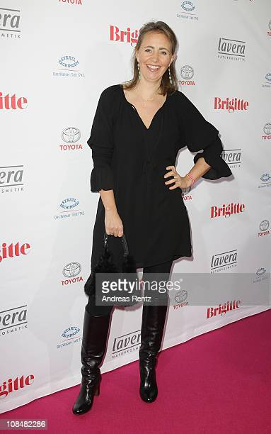 Jonica JahrGoedhart arrives for the BRIGITTE fashion event at the Hamburg Cruise Center on January 28 2011 in Hamburg Germany