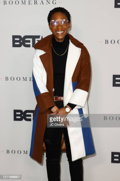 """Jonica T. Gibbs attends the premiere of BET's """"Boomerang"""" Season 2 at Paramount Studios on March 10, 2020 in Los Angeles, California."""