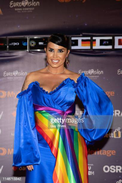 Jonida Maliqi of Albania arrives at the 64th Eurovision Song Contest held at Tel Aviv Fairgrounds on May 12 2019 in Tel Aviv Israel