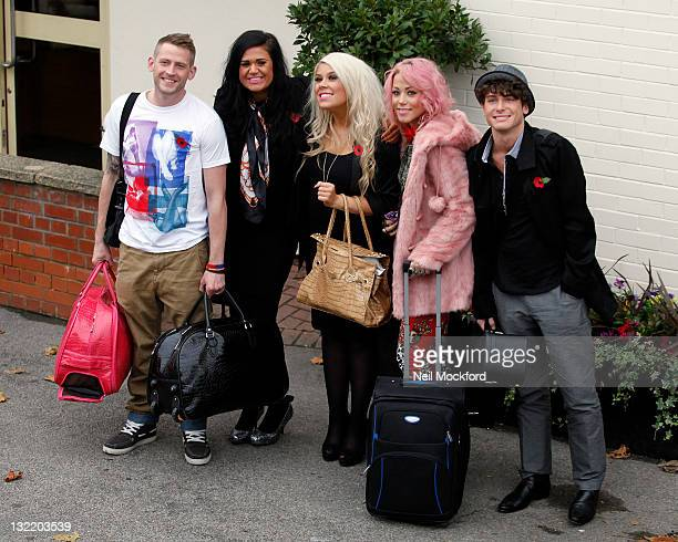 Jonjo Kerr Lucy Texeira and Charley Bird of 2 Shoes Amelia Lily and James Michael from XFactor arrive at Fountain Studios on November 11 2011 in...