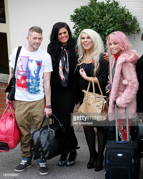 Jonjo Kerr Lucy Texeira and Charley Bird of 2 Shoes and Amelia Lily from XFactor seen arriving at Fountain Studios on November 11 2011 in London...