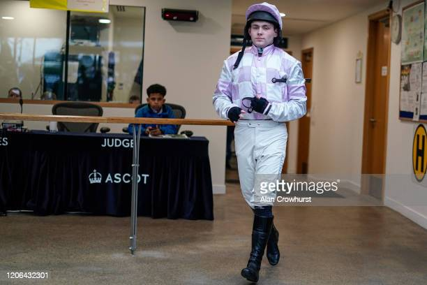 Jonjo O'Neill Jr leaves the weighing room at Ascot Racecourse on February 15 2020 in Ascot England