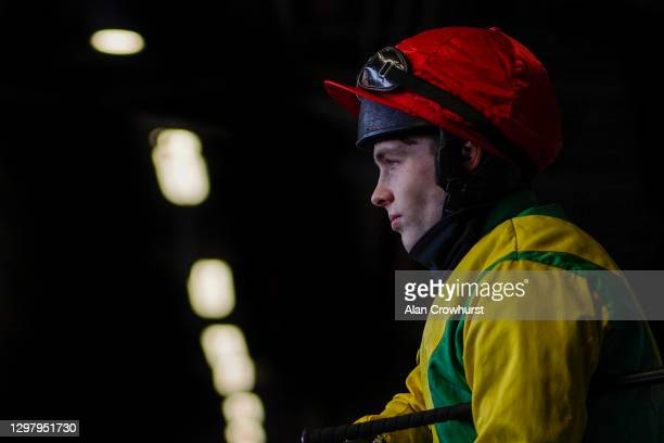 Jonjo O'Neill Jr on his way to the track at Ascot Racecourse on January 23, 2021 in Ascot, England. Due to the Coronavirus pandemic, owners along...