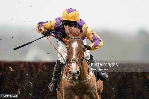 Jonjo O'Neill Jr riding Copperhead clear the last to win The Sodexo Reynoldstown Novices' Chase at Ascot Racecourse on February 15 2020 in Ascot...