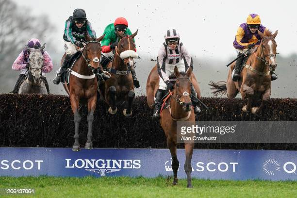Jonjo O'Neill Jr riding Copperhead on their way to winning The Sodexo Reynoldstown Novices' Chase at Ascot Racecourse on February 15 2020 in Ascot...