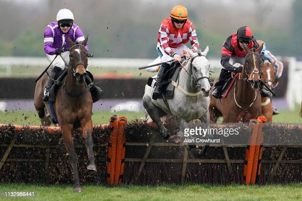 Jonjo O'Neill Jr riding Ey Up Rocky clear the last to win The Physicool Conditional Jockeys' Handicap Hurdle at Newbury Racecourse on March 01 2019...