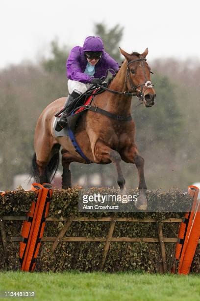 Jonjo O'Neill Jr riding Forza Milan clear the last to win The Team Ethos Handicap Hurdle at Sandown Park Racecourse on March 08 2019 in Esher United...